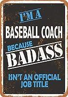 8 x 12 CM メタルサイン - Badass 野球コーチ メタルプレートブリキ 看板 2枚セットアンティークレトロ