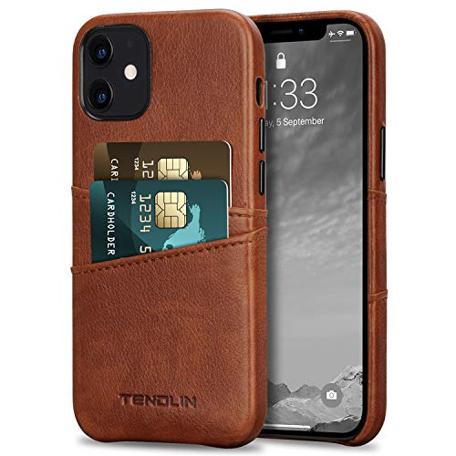 TENDLIN Compatible with iPhone 12 Mini Case Wallet Design Premium Leather Case with 2 Card Holder Slots (Brown)
