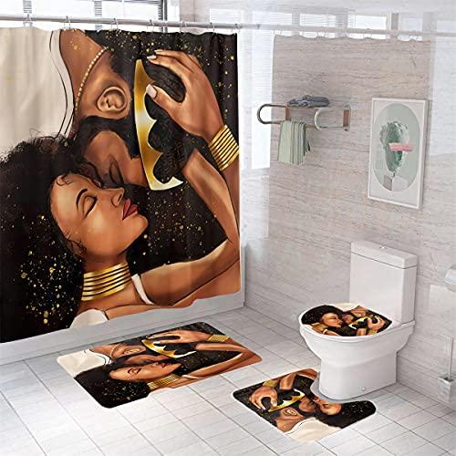 MrLYouth KingundQueen Duschvorhang-Sets mit rutschfestem Teppich, WC-Deckelbezug & Badematte, afrikanischer amerikanischer Duschvorhang mit 12 Haken, wasserdicht, Individuellkeitsmuster, 4 Stück