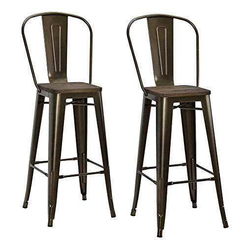 DHP Luxor 30' Metal Wood Seat, Antique Bronze, Set of 2 Bar Stool
