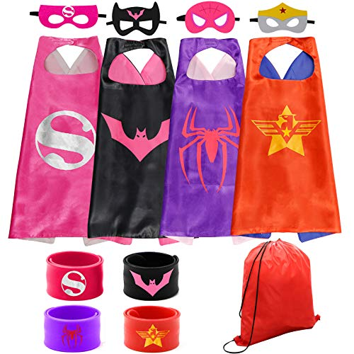 Dress up Costume Superhero Capes Set with Drawstring Backpack and Wristbands for Kids, Birthday Party Children (4PCS)