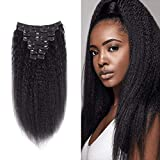 NOTICEME 14inch 10Pcs 120g/4.23oz Afro Kinky Straight Real Remy Clip in Hair Extensions 8A Virgin Brazilian Hair Double Weft for full Head Natural Color for Women