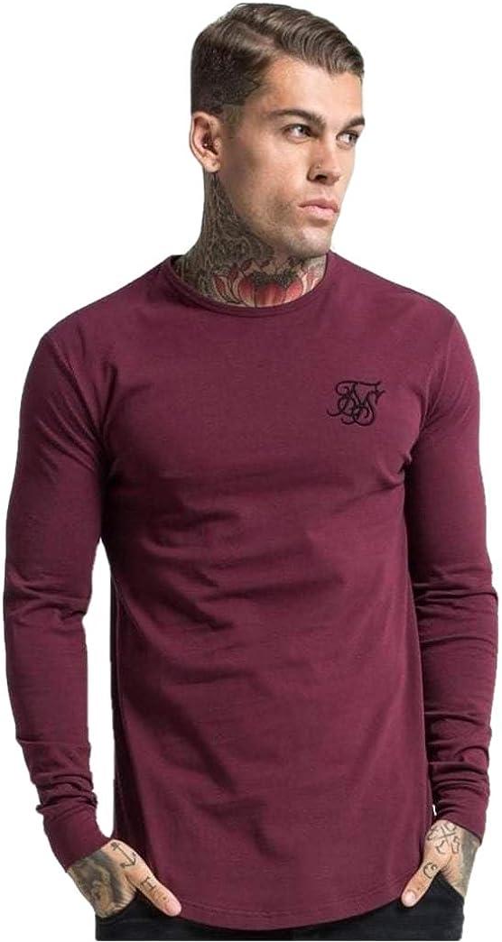 Time sale SikSilk Long Sleeve Max 67% OFF Gym Burgundy Tee -