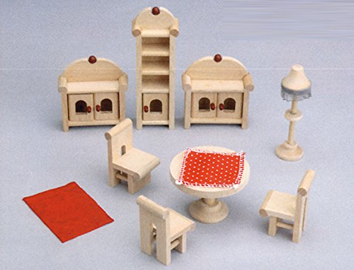 8tlg. Esszimmer, Stubenmöbel, Puppenstubenmöbel BUCHENHOLZ Puppenmöbel Puppenhaus PLAHO Puppenhausmöbel