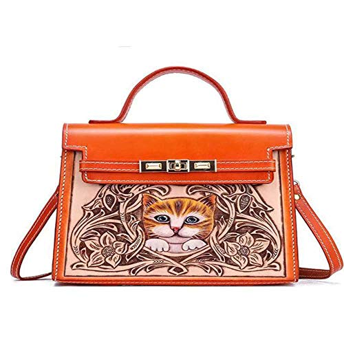 nobrand Chinesische Art Luxus Handtaschen Frauen Taschen Designer Handcrafted Head Schicht Rindsleder Geschnitzte Katze Muster Handtasche