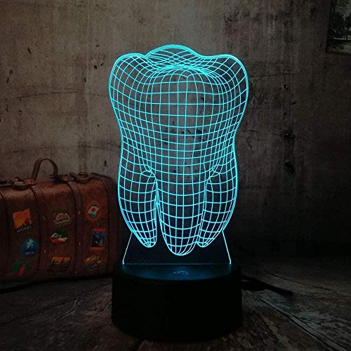 Luz nocturna 3D para niñosDientes 3DLuznocturna Colorido Dentista Odontología Decoración Dormitorio Mesa táctil Lámpara fresca Cumpleaños Regalo de Navidad Tienda de Halloween Modo tre