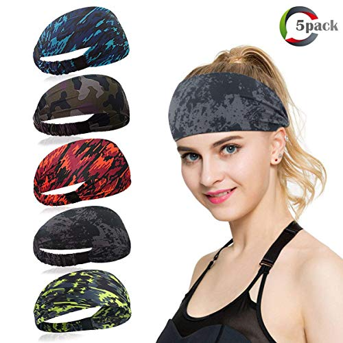 ECOMBOS Sport Stirnband für Frauen Lady - Headband Schweißband für Workout, Jogging, Walking, Yoga, Fitness, Crossfit (Farbe-A)