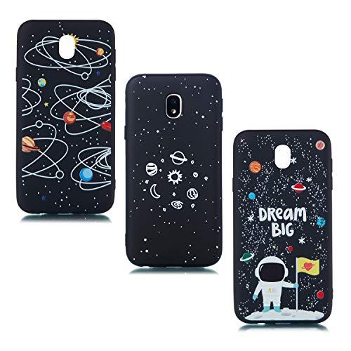 ChoosEU Compatible con 3 Fundas Samsung Galaxy J3 2017 Silicona Negro Dibujos Creativa Carcasas para Chicas Mujer Hombres, TPU Case Antigolpes Bumper Cover Caso Protección - Galaxia Astronauta Luna