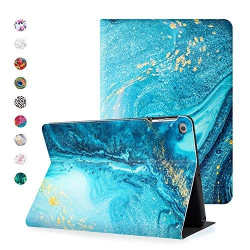 Hoppacase Premium iPad 6. Generation hülle / iPad 9,7 Zoll 2018 2017 / 5. Generation case - Revolutionäre Bedienung, Smart Cover mit Wake / Sleep Funktion, Umfassender Stoßschutz - Blauer Marmor