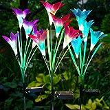 Litake Solarleuchte Garten, 3 Stück Lilie Solarleuchten für Außen Garten Lampen Solarlichter mit Blumen- und Solarpanel IP65 Wasserdicht RGB 7 Farben LED Solar Weg Lichter für Garten Patio Hinterhof