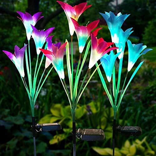 Litake Luces solares de Flores al Aire Libre, 3 Paquete Luces estaca de jardín con Flor de Lirio y Panel Solar, IP65 Impermeable 7 Colores cambiantes RGB LED Luces de Camino Solar