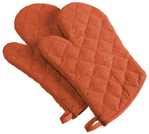 DII 100% Cotton Quilted Terry Oven Set Machine Washable Heat Resistant with Hanging Loop Ovenmitt Spice 2 Piece