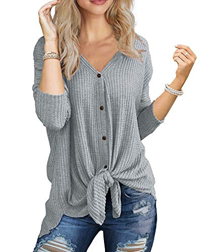 Women Waffle Knit Casual Tie Front Knot Henley Tank Top $8.95 (55% Off with code)