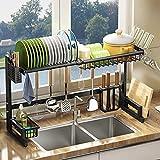 水切りラック シンク上 調整可能(59-95cm) 食器 水切りラック 皿乾燥水切り棚 キッチン 水切りかご 台所用品ホルダ 水が自動で流れる 省スペース ステンレス製