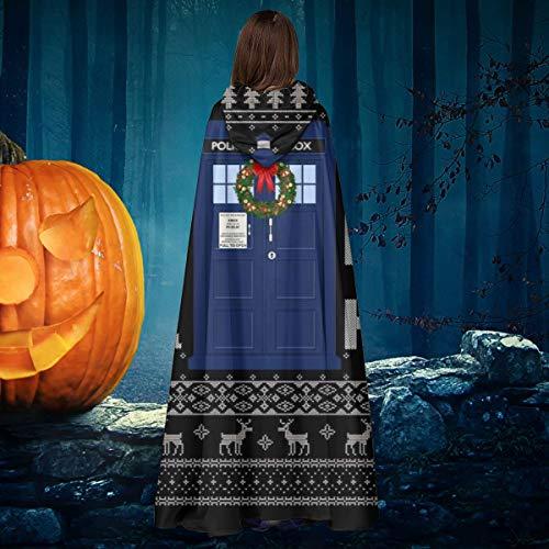 NULLYTG Doctor Who Tardis Ho Ho Ho Ho Ho Navidad Knit Unisex Navidad Halloween Bruja Caballero con Capucha Albornoz Vampiros Capa Capa Cosplay Disfraz