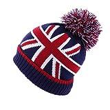冬のビーニー帽子暖かいかぎ針編みのだぶだぶのウールニットポンポンスカリーズボールストライプ英国イギリスの旗だらしないベルベット雪スキーキャップ
