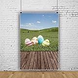 Oeufs de Pâques en Bois Planche Herbe Pâques thème Photographie Fond Suspendus Oeufs de Pâques Planche en Bois Fond Mur en Bois Fond Enfants 5X7Ft Vinyle