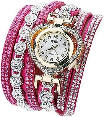 P Prettyia Reloj de Pulsera Diamantes Reloj de Pulsera para Mujer Reloj de Cuarzo Diseño Multicapa