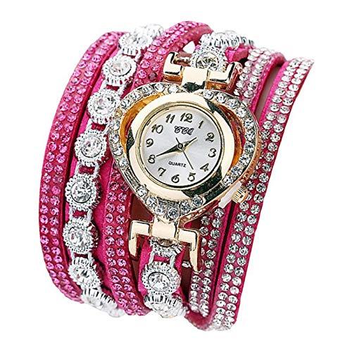 Hellery Mujeres Moda Pulsera De Lujo Reloj De Pulsera Señoras Elegante Reloj Analógico Brazalete - Rosa roja