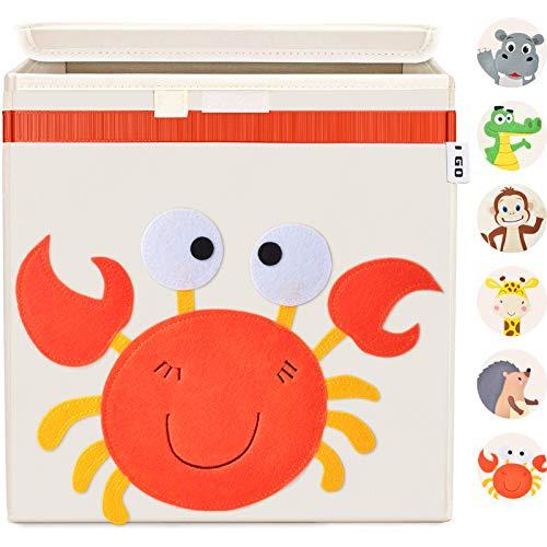 I GO Caja de almacenaje caja de juguetes para niños con tapa para estantería habitación infantil 33x33x33cm, cangrejo