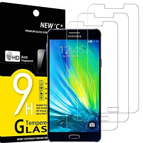 NEW'C 3 Stück, Schutzfolie Panzerglas für Samsung Galaxy A7 2015, Frei von Kratzern, 9H Festigkeit, HD Bildschirmschutzfolie, 0.33mm Ultra-klar, Ultrawiderstandsfähig