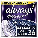 Always Discreet Inkontinenz-Einlagen + Maxi Night 6, bei empfindlicher Blase, verbannt Gerüche & Nässe in Sekunden verhindert Auslaufen–6x6 (36 Pack)
