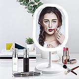 Juhefa, Specchio da Trucco a LED, Ricaricabile, Specchio Portatile con luci, Interruttore Touch Screen, Rotazione Libera a 180 Gradi