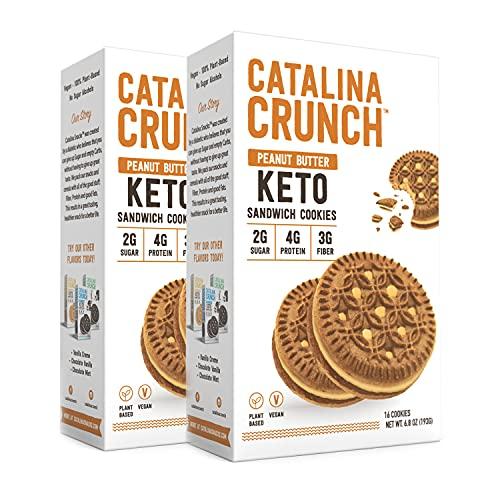 Catalina Crunch Peanut Butter Keto Sandwich Cookies 2 Pack 6.8 oz Box | Keto Snacks | Low Carb, Low Sugar, Vegan Cookies, Plant Based Protein Cookies | Keto Friendly Food, Keto Dessert