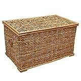 Baúl de mimbre, cesta de almacenamiento forrada, ratán rústico natural - 61 x...