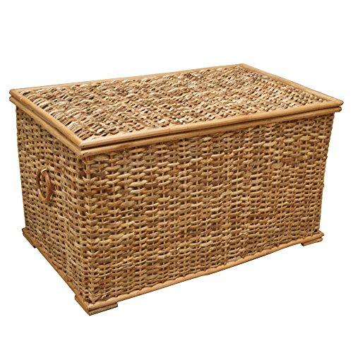 Baúl de mimbre, cesta de almacenamiento forrada, ratán rústico natural - 61 x 33 x 33 cm