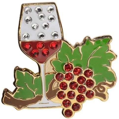 navikaナビカ【スワロフスキー ゴルフボールマーカー wine】ワイン グラス ぶどう ハットクリップ付 クリップマーカー