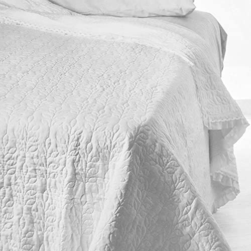Quilt Trapuntino Matrimoniale Estivo Copriletto Bouties Tinta Unita e volantino Bianco