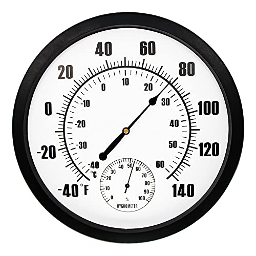IBOBOOM 10  Indoor Outdoor Weather Thermometer   Hygrometer for Patio, Wall Decorative, No Battery Needed