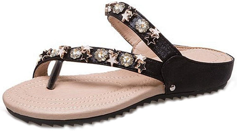 GIY Womens Star Flip Flop Sandals, Thong Slide Flat Sandals Summer Beach shoes with Rivets Flip Flops