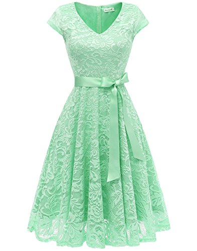 BeryLove Damen V-Ausschnitt Kurz Brautjungfer Kleid Cocktail Party Floral Kleid BLP7006MintL