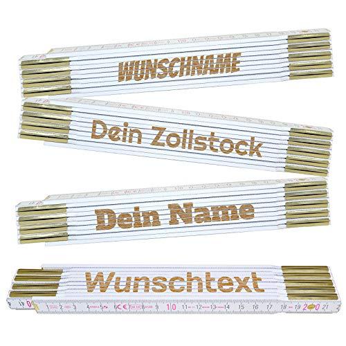 Zollstock personalisiert mit Name oder Wunschtext | Laser Gravur | hochwertige Verarbeitung mit Messingbeschlägen | Metermaß | Meterstab | Geschenkidee für Kollegen, Freunde, Familie | Preis am Stiel®