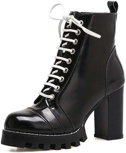9cm Chunkly Heel 2.5cm plataforma punta rojoonda con cordones Martin botas Knight botas Hermoso Color puro contiene 2 pares de cordones Court zapatos Eu Tamaño 34- 40