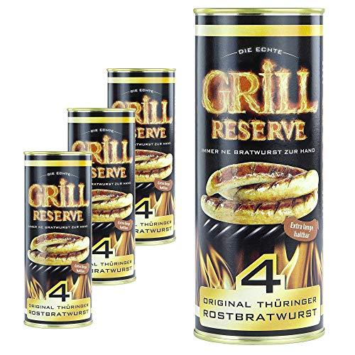 Grill Reserve - Thüringer Rostbratwürste (4 x 4 Stück) in der Dose 4 x 400 g (4er Pack)