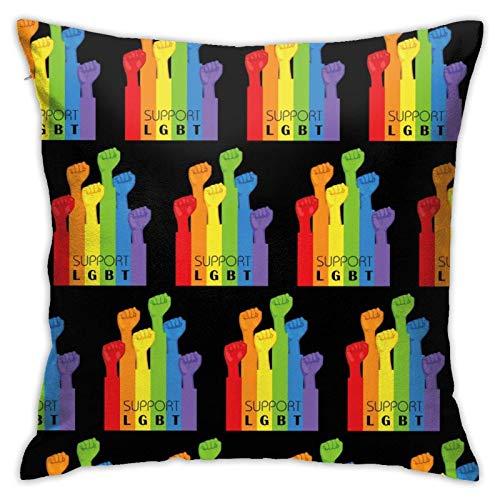 Supporto Lgbt Gay Lesbian BlackThrow Fodere per cuscini Fodere per cuscini Fashion Throw Federa di lusso per divano, divano, letto, patio, Hotel Supporto morbido LGBT Gay Lesbian Black Fodere per cusc