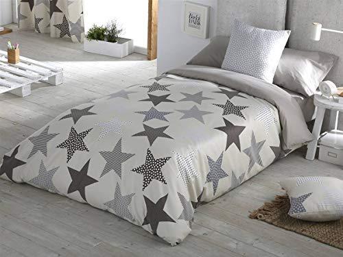 Sansa - Funda nórdica Estrellas Cama 105 - Color Gris