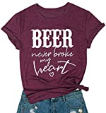 LOTUCY Beer Never Broke My Heart Shirt Women Country Music Short Sleeve T-Shirt Funny Drinking Tee Letters Print Tops Size XL (Wine Red)