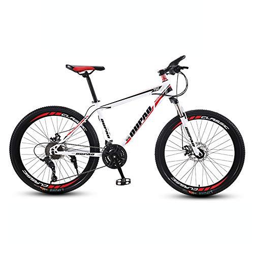 Bicicleta, Bicicleta de montaña con 27 velocidades | Bicicleta todoterreno, con asiento ajustable y cuadro de acero con alto contenido de carbono, para adultos y adolescentes, fácil de instalar
