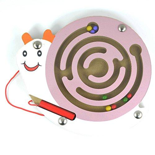 HappyToy Tier Mini Wooden Runde Magnetische Wand Nummer Maze Interaktive Labyrinth Magnet Perlen Labyrinth auf Brettspiel Stadt Verkehr Eduactional Handcraft Toys (Rosa Schnecke)