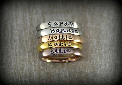 Personalized Stackable Name Ring Engraved Stamped Cross Jewelry silver Stainless Steel Ring Mother Grandma Gift Stacking Jewelry