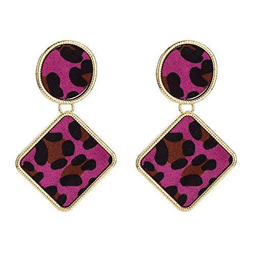 GLJIJID Exquisite Legierung Geometrische Kreative Persönlichkeit Ohrringe, Mischfarbe Leopard Stoff Mode Ohrringe Rose Rot