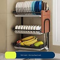 キッチンラック ステンレス鋼の食器棚 ドレンラックブラック食器収納ラックパンチフリーキッチンカトラリーストレージラック プレートラック壁掛けライスボウルラック ジン・ジA (Color : Three layer, Size : Two)