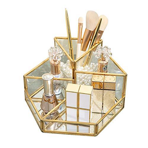 SLHEQING Make up Organizer Beauty Organizer Tray Schmuck Pinselhalter Gold, Glas Kosmetikbox, Klar Dekoratives Tablett