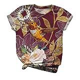 Xmiral Top Tee T-Shirt Donna Manica Corta O-Collo Stampato Animalier Taglie Forti (S,4Rosso)