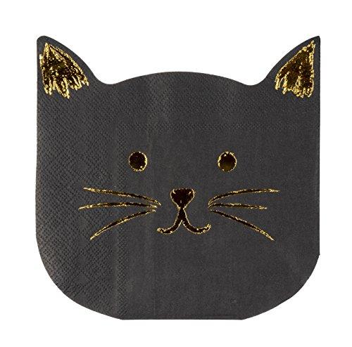 Servilletas de cóctel – Paquete de 50 servilletas de papel desechables, suministros de fiesta de cumpleaños, 2 capas, diseño de gato troquelado con papel de aluminio, plegado 16,5 x 15,2 cm