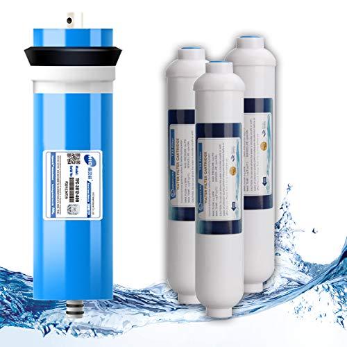 Membrana 3012-400 GPD RO + Cartucho De Filtro De Agua De Carbono De Coco T33 De 10'para Sistema De Purificación De Agua Potable Debajo del Fregadero
